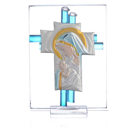 Ricordino Nascita Croce vetro Murano acquamarina e Arg. h. 8 cm 1