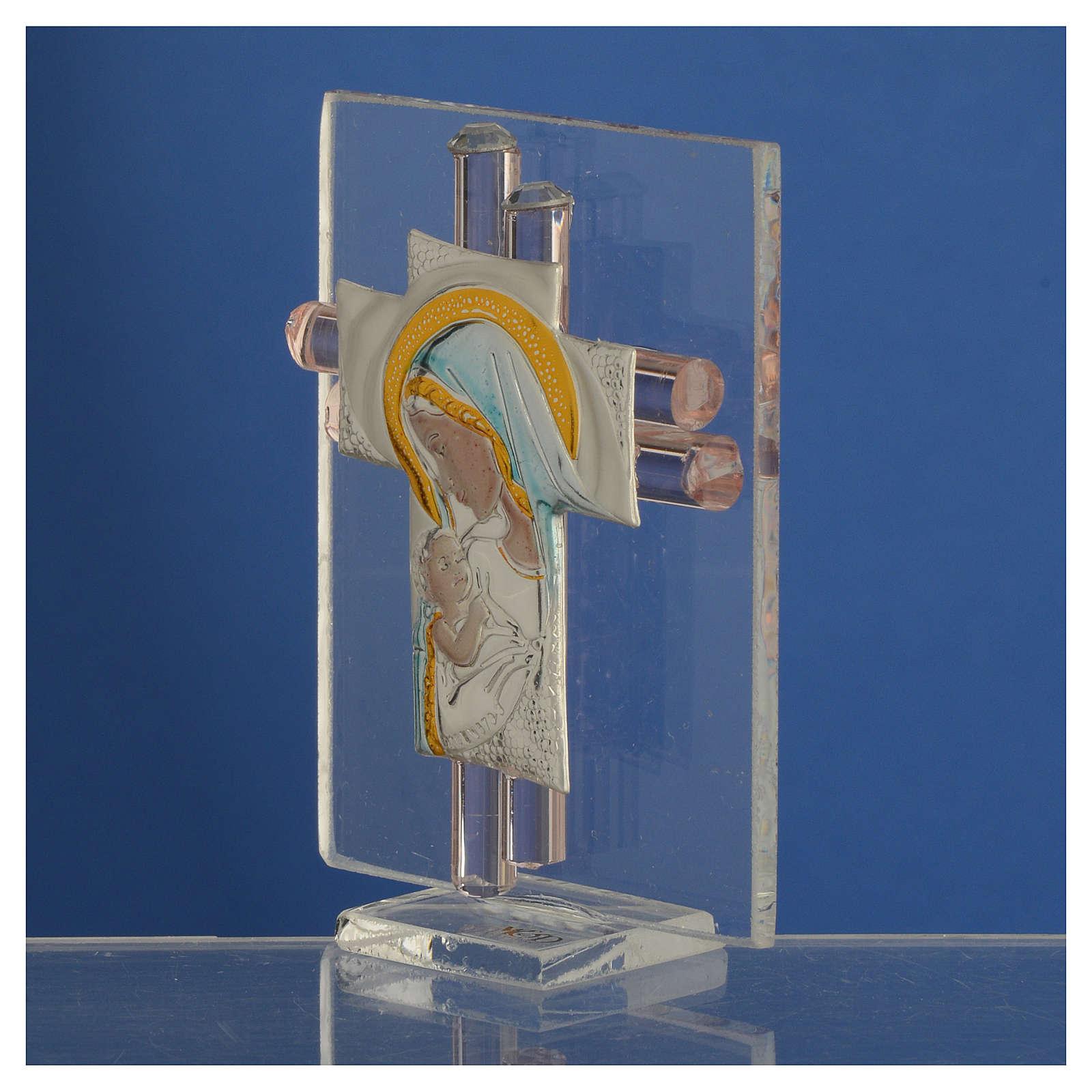Bonbonnière Maternité croix verre Murano rose arg h 8 cm 3