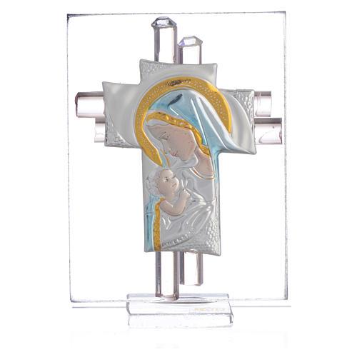 Bonbonnière Maternité croix verre Murano rose arg h 8 cm 1