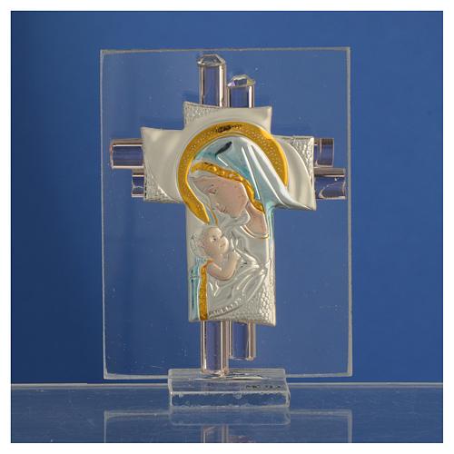 Bonbonnière Maternité croix verre Murano rose arg h 8 cm 2
