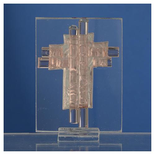 Bonbonnière Maternité croix verre Murano rose arg h 8 cm 4