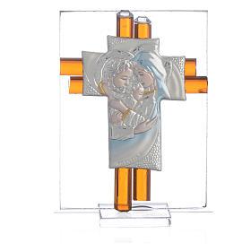 Croix Ste Famille verre Murano ambre et argent h 8 cm s1