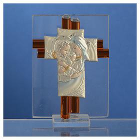 Croix Ste Famille verre Murano ambre et argent h 8 cm s2