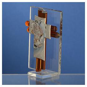 Croix Ste Famille verre Murano ambre et argent h 8 cm s3