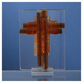 Croix Ste Famille verre Murano ambre et argent h 8 cm s4