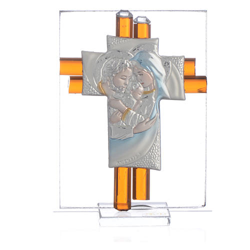 Croix Ste Famille verre Murano ambre et argent h 8 cm 1