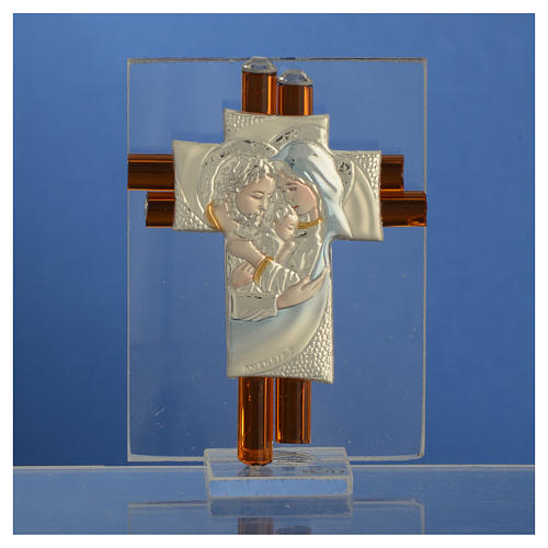 Croix Ste Famille verre Murano ambre et argent h 8 cm 2