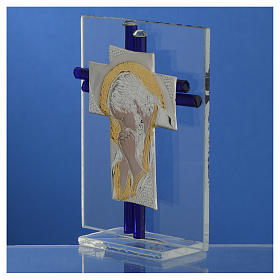 Croix Christ verre Murano belu et argent h 10,5 cm s3