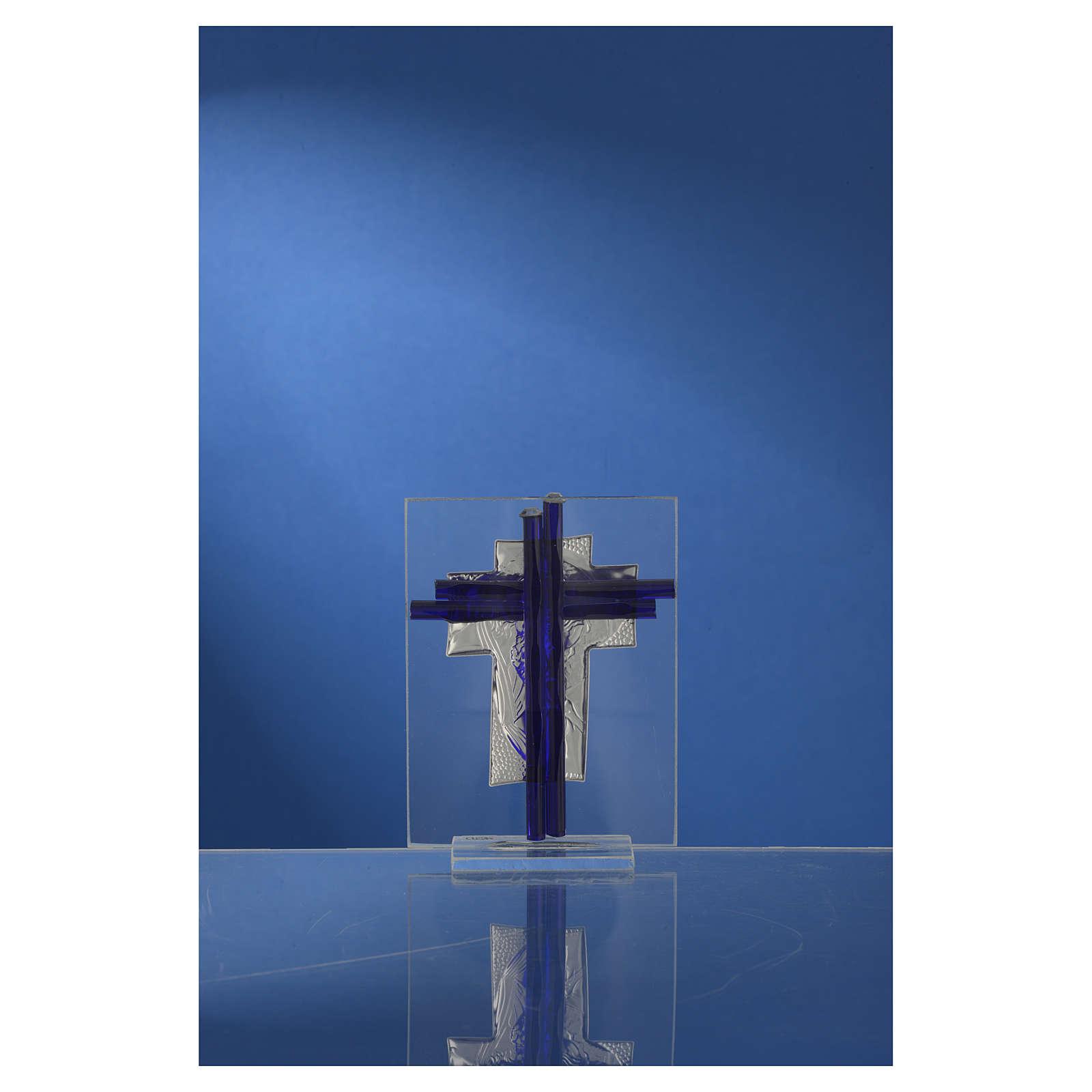 Croce Cristo vetro Murano blu e Arg. h. 10,5 cm 3