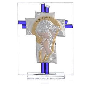 Croce Cristo vetro Murano blu e Arg. h. 10,5 cm s1