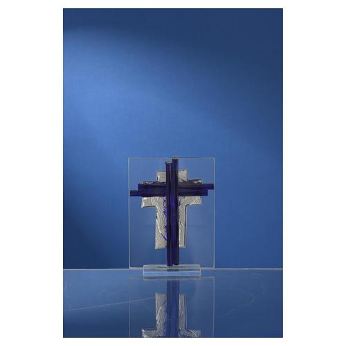 Croce Cristo vetro Murano blu e Arg. h. 10,5 cm 4