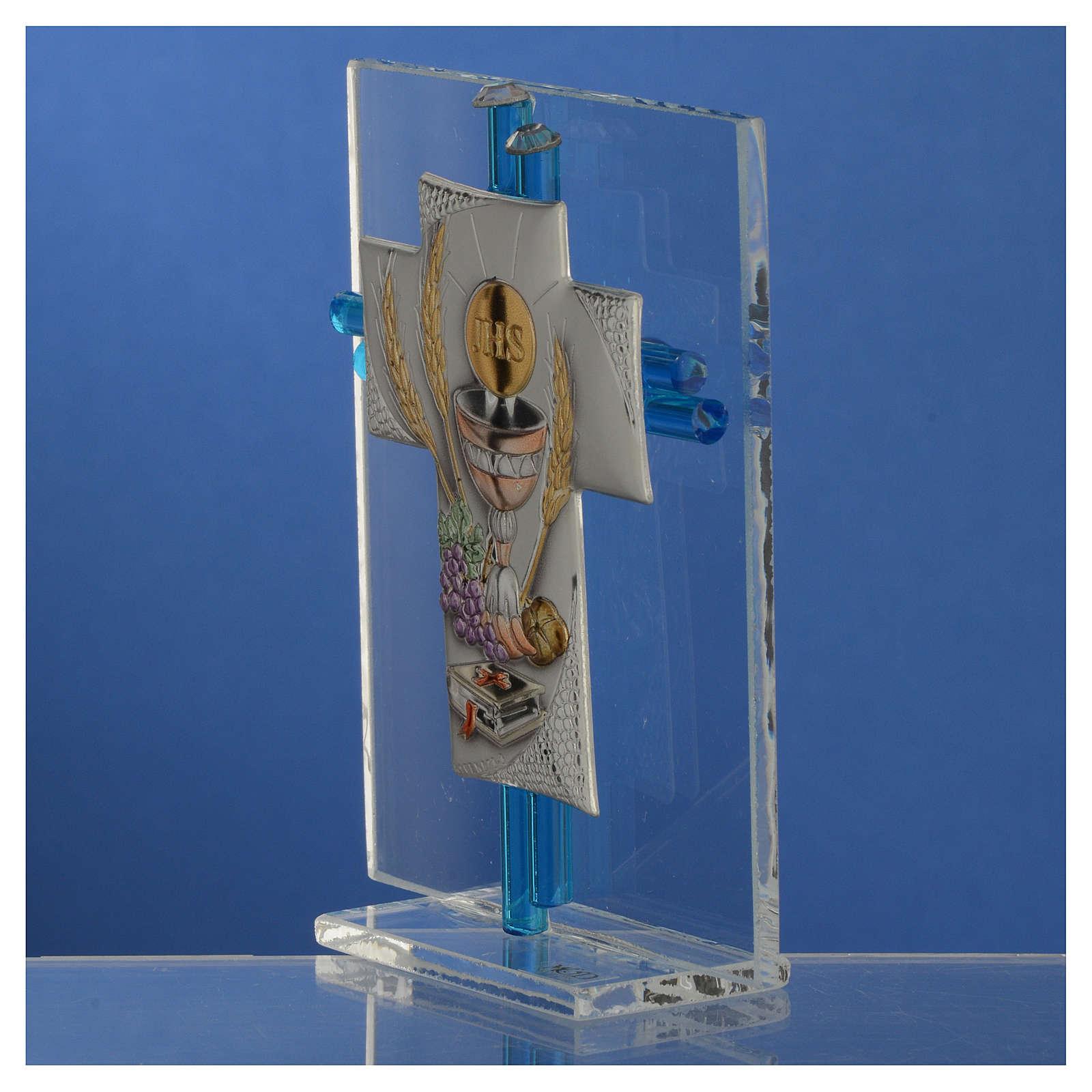 Regalo comunión cruz y vidrio Murano aguamarina plata. h.10,5 cm 3