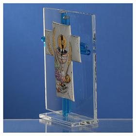 Regalo comunión cruz y vidrio Murano aguamarina plata. h.10,5 cm s3