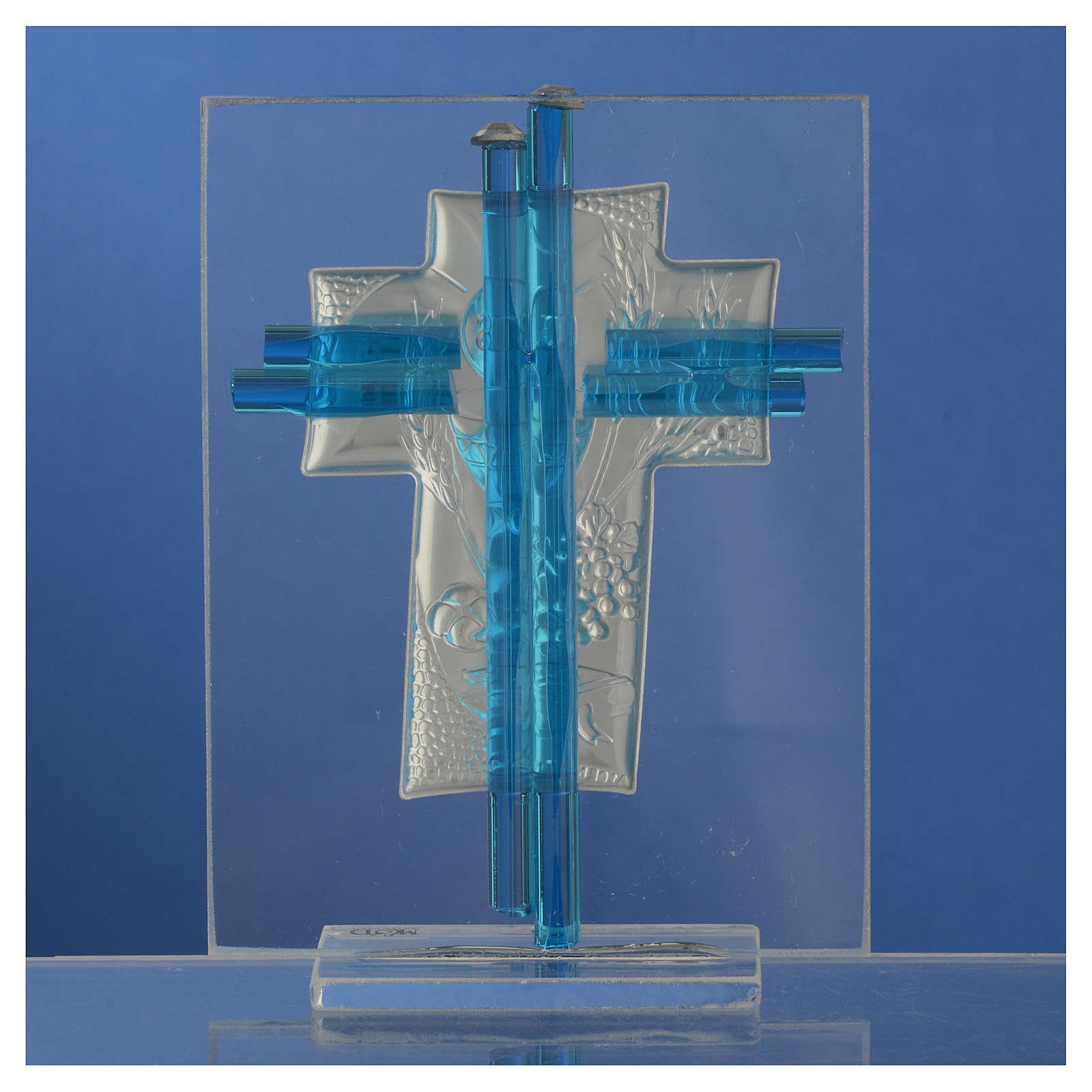 Bonbonnière Communion croix verre Murano aigue-marine arg h 10,5 cm 3
