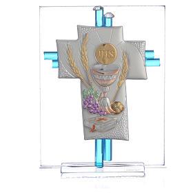 Bonbonnière Communion croix verre Murano aigue-marine arg h 10,5 cm s1