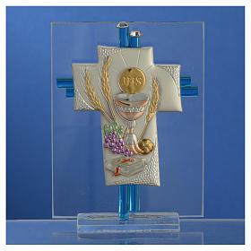 Bonbonnière Communion croix verre Murano aigue-marine arg h 10,5 cm s2