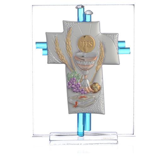Bonbonnière Communion croix verre Murano aigue-marine arg h 10,5 cm 1