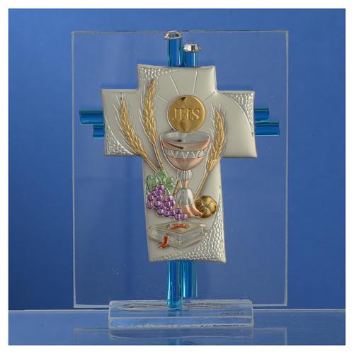 Bonbonnière Communion croix verre Murano aigue-marine arg h 10,5 cm 2