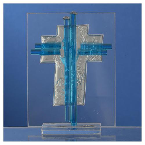 Bonbonnière Communion croix verre Murano aigue-marine arg h 10,5 cm 4