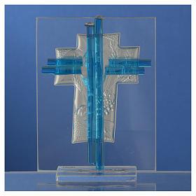 Bomboniera Comunione croce vetro Murano acquamarina e Arg. h. 10,5 cm s4