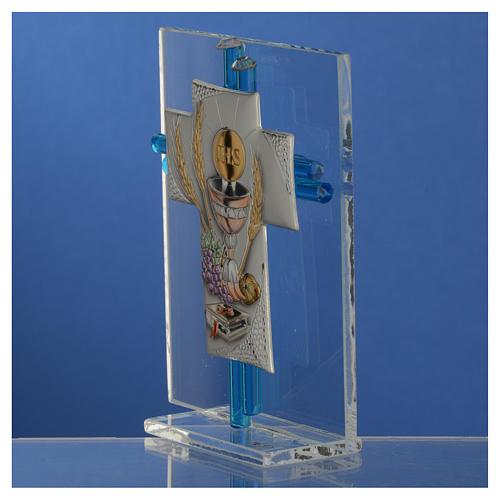 Bomboniera Comunione croce vetro Murano acquamarina e Arg. h. 10,5 cm 3