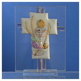 Bonbonnière Communion croix verre Murano rose h 10,5 cm s2