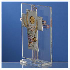 Bonbonnière Communion croix verre Murano rose h 10,5 cm s3