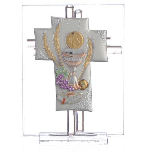 Bonbonnière Communion croix verre Murano rose h 10,5 cm 1