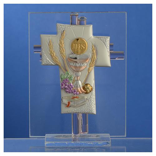 Bonbonnière Communion croix verre Murano rose h 10,5 cm 2