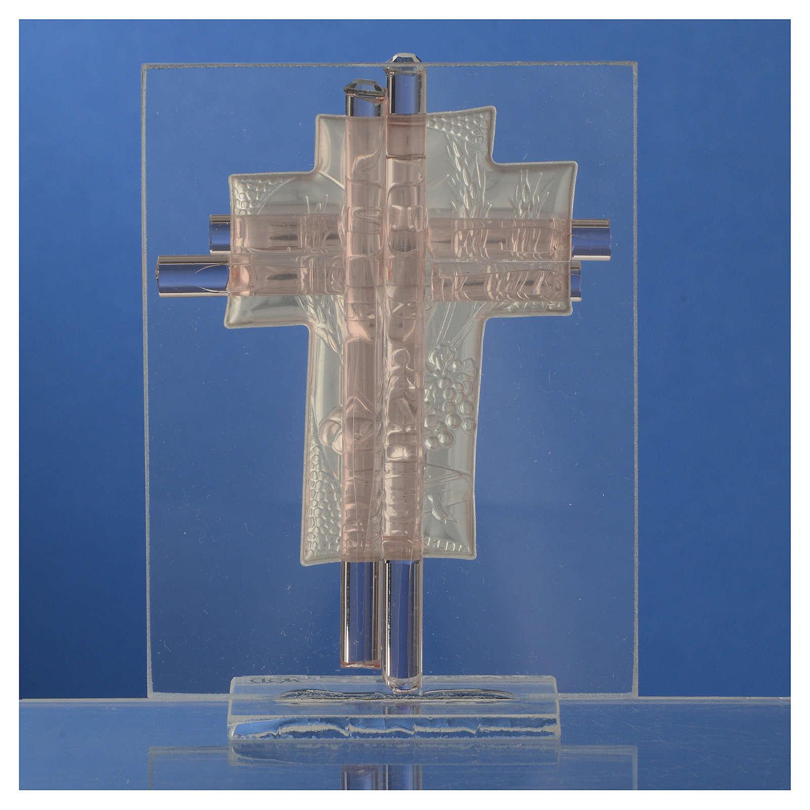 Bomboniera Comunione Croce vetro Murano rosa h. 10,5 cm 3