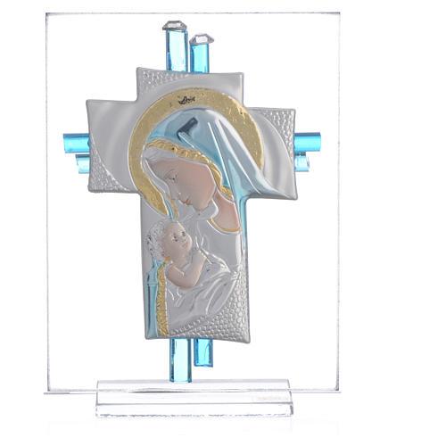 Bonbonnière Naissance croix verre Murano aigue-marine h 10,5 cm 1