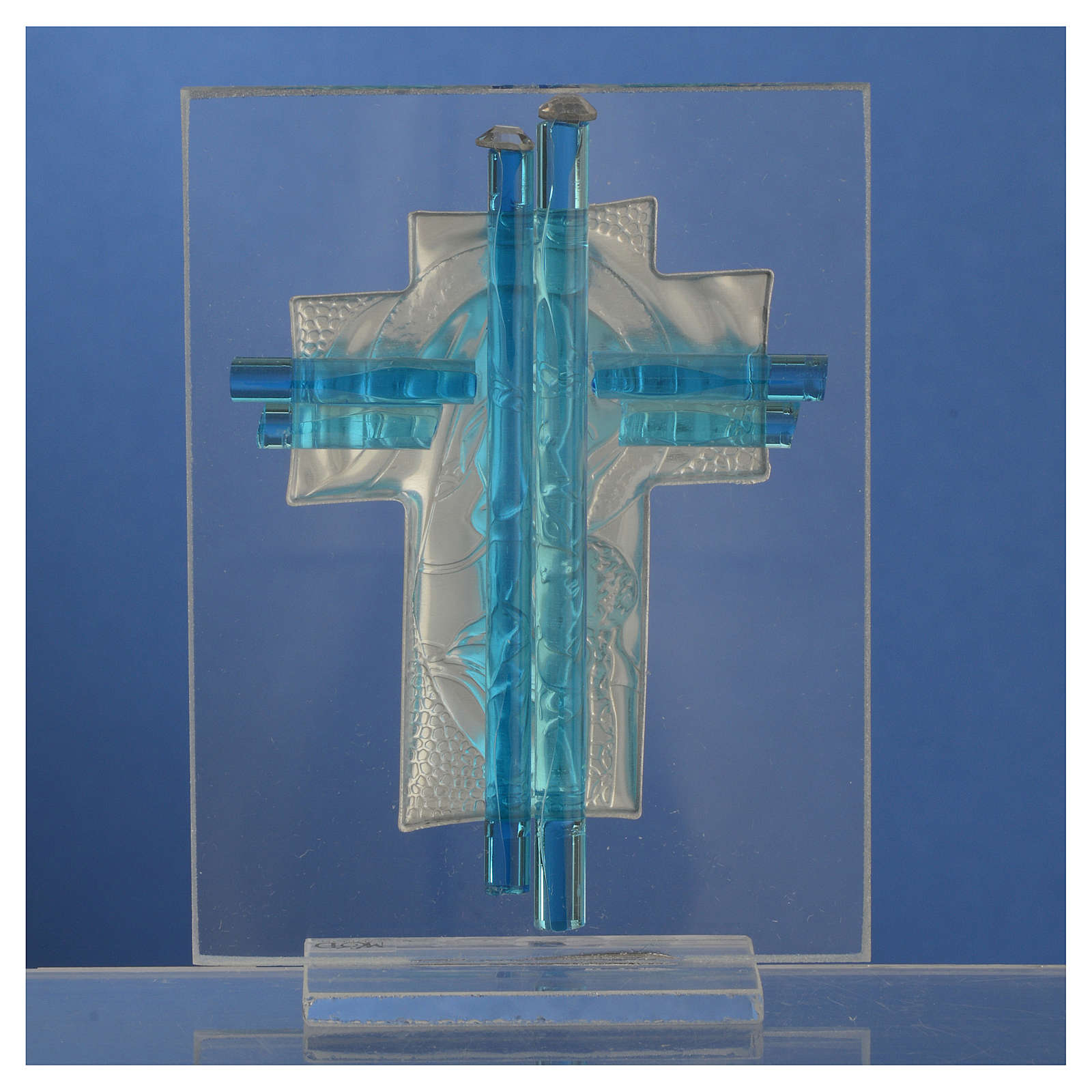 Bomboniera Nascita Croce vetro Murano acquamarina h. 10,5 cm 3