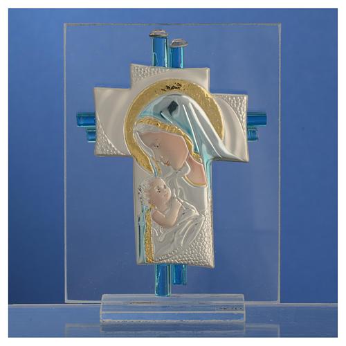 Bomboniera Nascita Croce vetro Murano acquamarina h. 10,5 cm 2