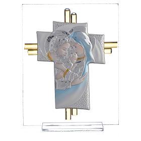 Bomboniera Matrimonio Croce S. Famiglia vetro Murano acquamarina h. 10,5 cm s5