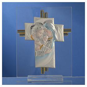 Bomboniera Matrimonio Croce S. Famiglia vetro Murano acquamarina h. 10,5 cm s6