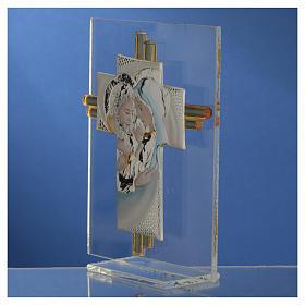 Bomboniera Matrimonio Croce S. Famiglia vetro Murano acquamarina h. 10,5 cm s7