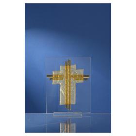 Bomboniera Matrimonio Croce S. Famiglia vetro Murano acquamarina h. 10,5 cm s8