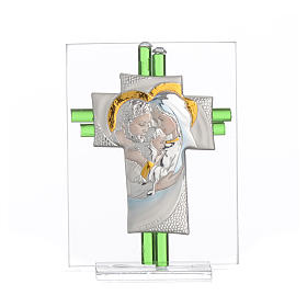 Bomboniera Matrimonio Croce S. Famiglia vetro Murano acquamarina h. 10,5 cm s9