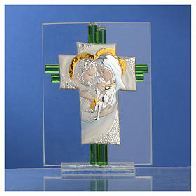 Bomboniera Matrimonio Croce S. Famiglia vetro Murano acquamarina h. 10,5 cm s10