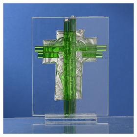 Bomboniera Matrimonio Croce S. Famiglia vetro Murano acquamarina h. 10,5 cm s12
