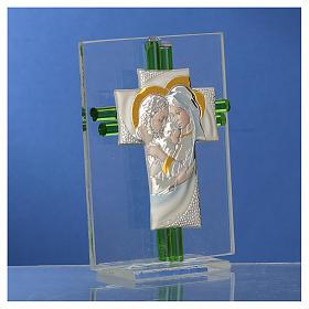Bomboniera Matrimonio Croce S. Famiglia vetro Murano acquamarina h. 10,5 cm s3