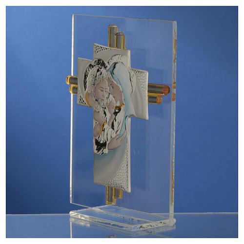 Bomboniera Matrimonio Croce S. Famiglia vetro Murano acquamarina h. 10,5 cm 7