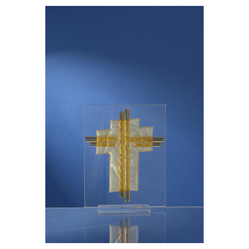 Bomboniera Matrimonio Croce S. Famiglia vetro Murano acquamarina h. 10,5 cm 8