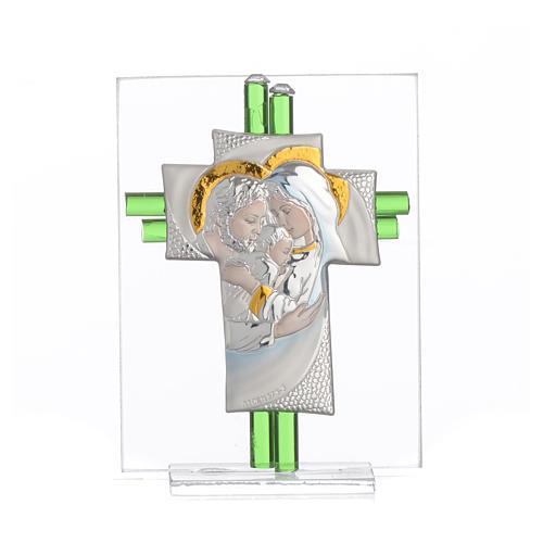 Bomboniera Matrimonio Croce S. Famiglia vetro Murano acquamarina h. 10,5 cm 9