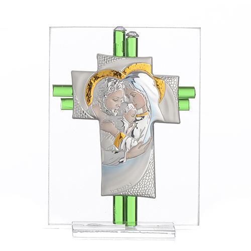 Bomboniera Matrimonio Croce S. Famiglia vetro Murano acquamarina h. 10,5 cm 1