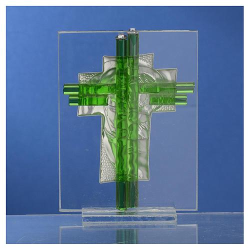 Bomboniera Matrimonio Croce S. Famiglia vetro Murano acquamarina h. 10,5 cm 4