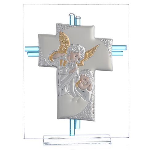 Croix anges verre Murano aigue-marine et argent h 14,5 cm 1