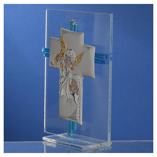 Croix anges verre Murano aigue-marine et argent h 14,5 cm 3