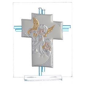 Croce Angeli Vetro Murano acquamarina e Arg. h. 14,5 cm s1