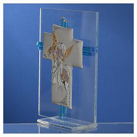 Croce Angeli Vetro Murano acquamarina e Arg. h. 14,5 cm s3